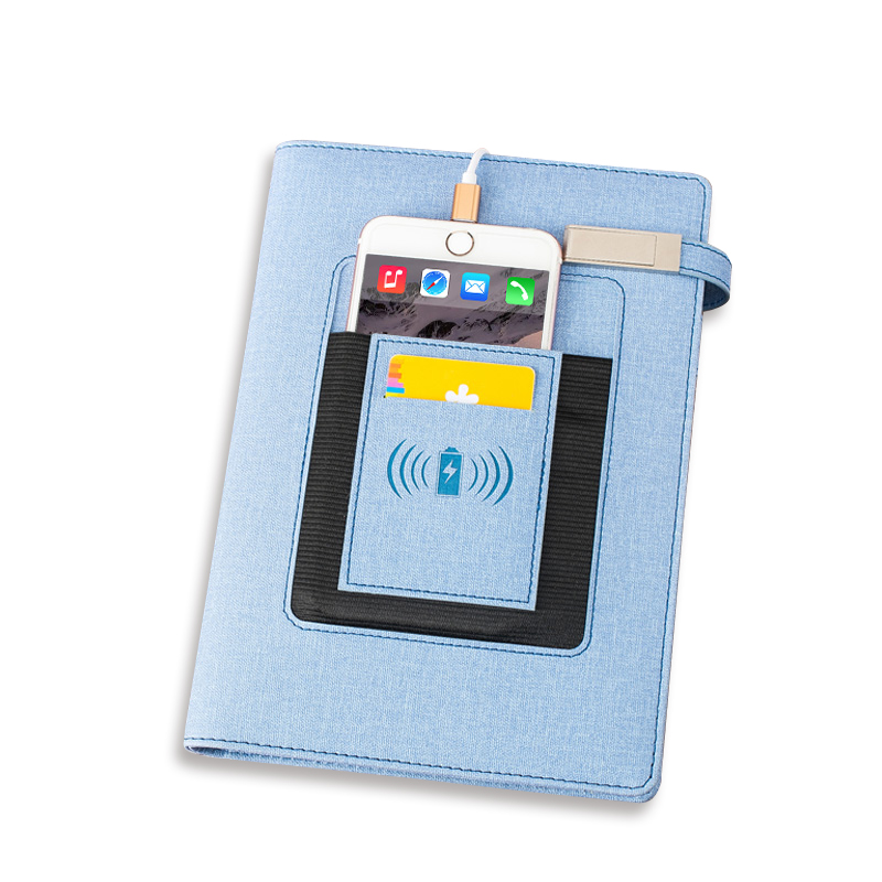 Customized light up logo Diary notebook with wireless charging built in power bank