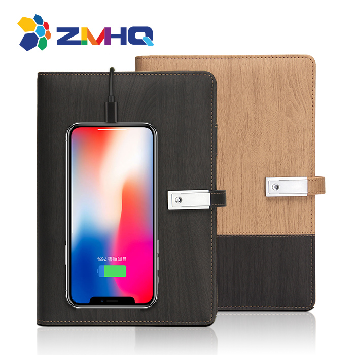 Wood grain power bank notebook with 8G USB flash drive