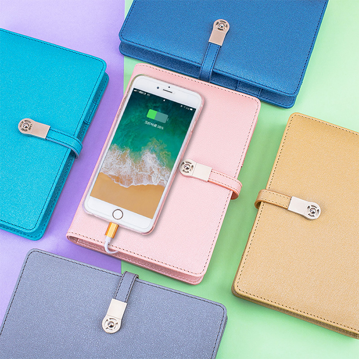 Business style A6 anti-lost notebook with power bank