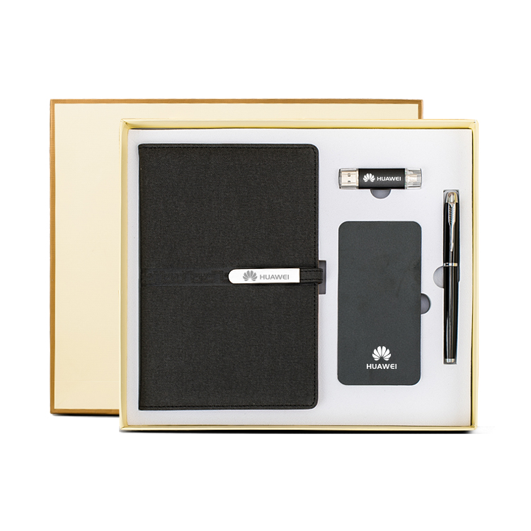 Business notebook gift set with power bank/ USB flash drive/ pen