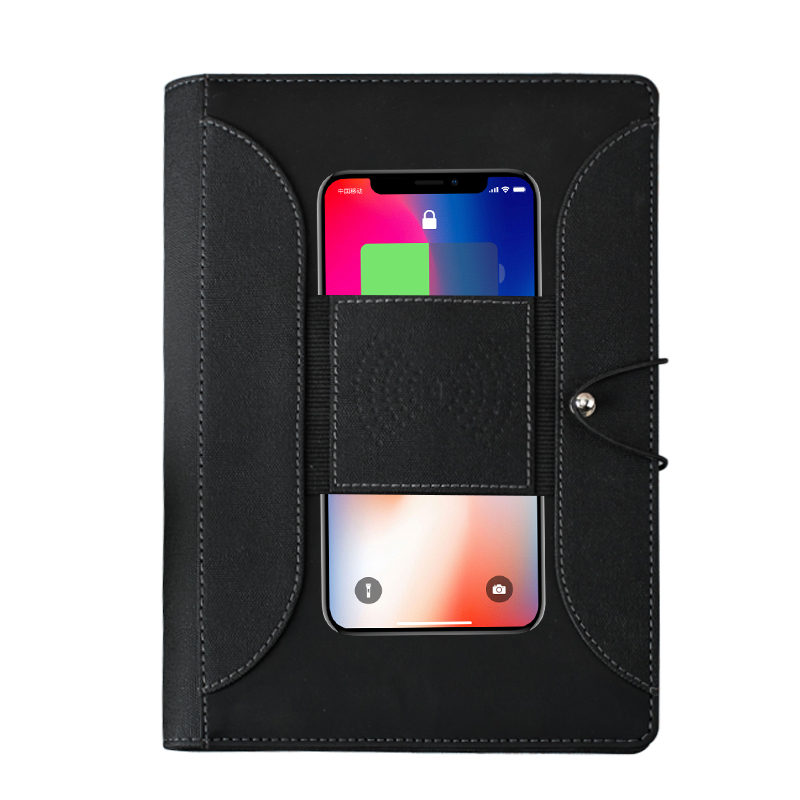 A5 wireless charging notebook with elastic band buckle