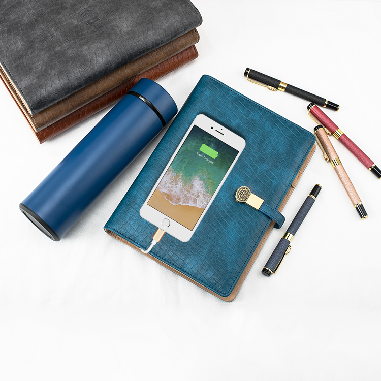 Retro Style Notebook with Sign Pen Vacuum Flask Power Bank Gift Set