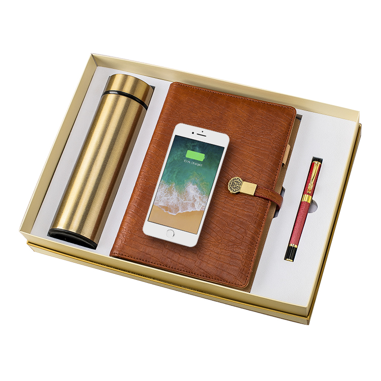 Retro Style Wireless Charging Notebook with Sign Pen Vacuum Flask Power Bank Gift Set