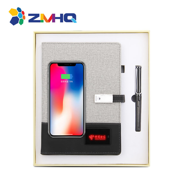 LED light  up logo wireless charging notebook with power bank