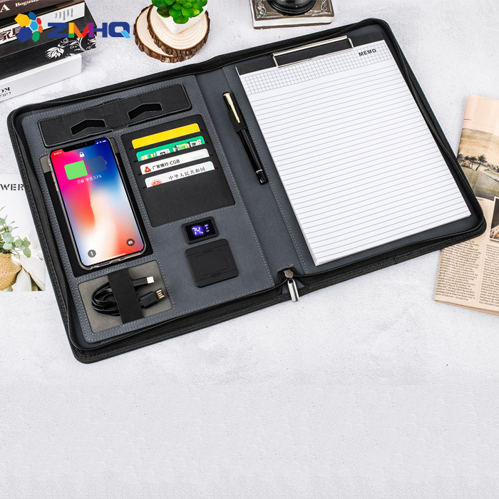 A4 portfolio power bank wireless charging folder