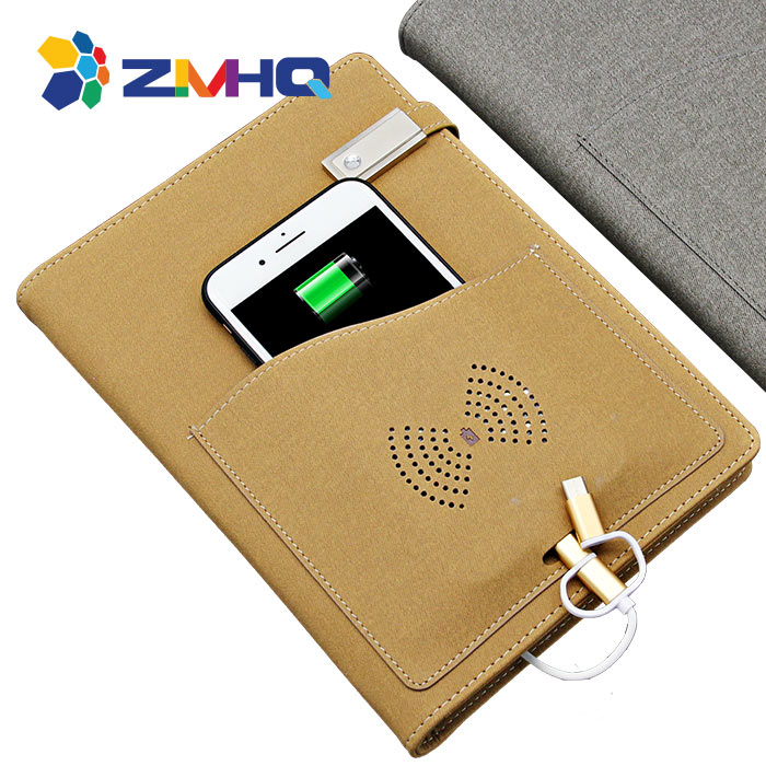 Wireless charging 8000mAh built in power bank notebook with 8G USB flash drive