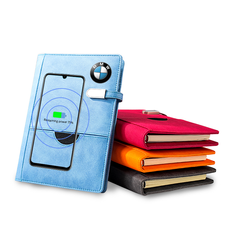 Newest Leather wireless powerbank notebook with USB flash drive