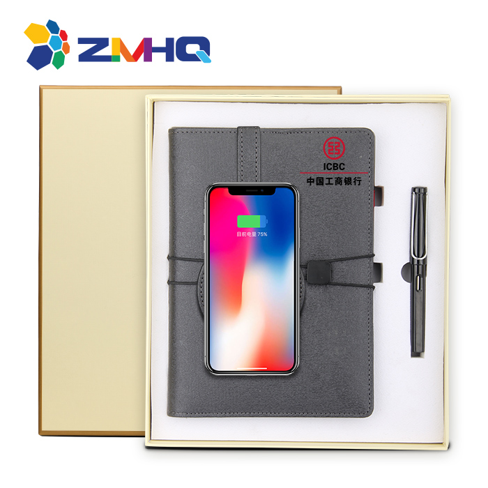 Double size wireless charging notebook with power bank